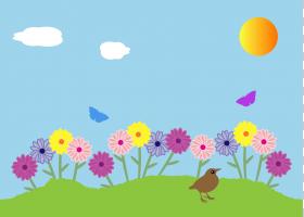 栅栏卡通,草,生态区,野花,草原,花瓣,白天,天空,生态系统,向日葵,图片