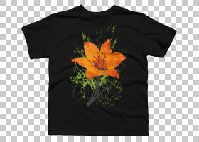 橙花,橙色,黄色,T恤,顶部,套筒,花,植物,优惠券,纤细的裤子,服装,