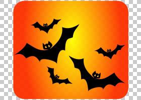万圣节卡通背景,橙色,假期,Trickor治疗,吸血蝙蝠,万圣节前夕,蝙