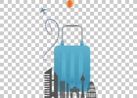 旅行平面背景,文本,旅游景点,蓝色,几何形状,平面设计,行李,背包,