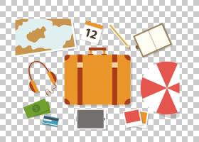 旅行平面背景,线路,徽标,橙色,纸张,材质,文本,背包,手提箱,平面