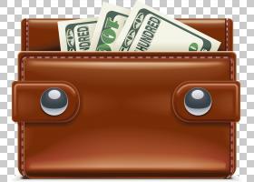 金钱卡通,棕色,公文包,钞票,钱,手提包,皮革,钱包,