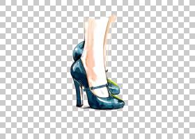 绘画卡通,高跟鞋,户外鞋,电蓝,凉鞋,服装设计,藏红花,绘画,引导,