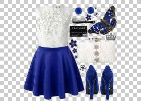 妇女节,白色,关节,钴蓝,日间连衣裙,腰部,电蓝,肩部,蓝色,女性,毫