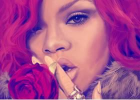 音乐,蕾哈娜,歌手,女演员,歌手,巴巴多斯语,脸,绘画,艺术的,粉红