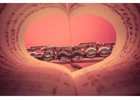 音乐,长笛,表,音乐,心,艺术的,粉红色,工具,壁纸,