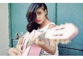 音乐,女人,妇女,黑发女人,吉他,棕色,眼睛,口红,壁纸,
