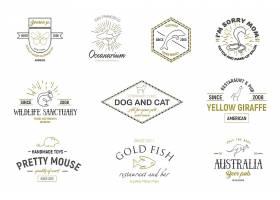 单色线条动物简洁商标图标LOGO设计
