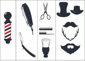 男士绅士剃须刀刷子护理工具主题图标LOGO设计