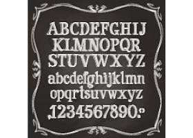 黑白英文字母餐厅或咖啡厅的菜单设计的手绘粉笔元素