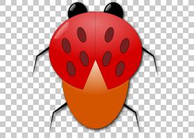 红色背景,红色,微笑,桔黄色的,食物,昆虫,动物,绘图,动画片,瓢虫,