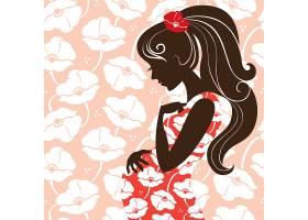 创意文艺个性孕妇女人侧脸一生规划插画设计
