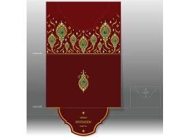 红色孔雀羽毛元素贺卡信封设计