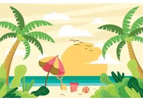 夏日主题沙滩海滩矢量插画