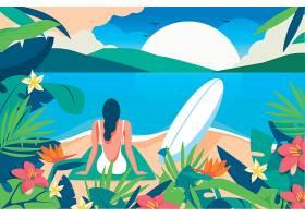 夏日海岛矢量装饰插画