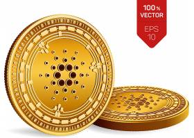 立体金币银币加密货币虚拟货币矢量插画