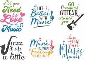个性艺术英文字体音乐主题标签设计