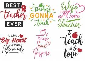 个性艺术英文字体教师主题标签设计