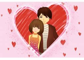 浪漫红心卡通画新年快乐情人节快乐插画图片海报素材
