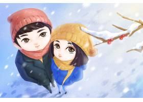 可爱浪漫卡通画新年快乐情人节快乐插画图片海报素材