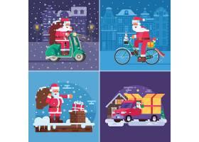 圣诞节圣诞老人送礼物主题装饰插画设计