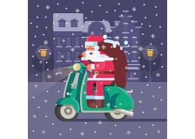 骑电动车送礼物的圣诞老人