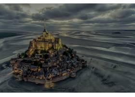 宗教的,山,圣米歇尔,修道院,法国,沙,地平线,云,壁纸,