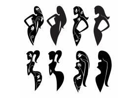女性剪影形象LOGO图标设计