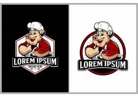 猪厨师形象LOGO图标设计