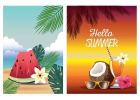 美好夏季热带假期椰子和鸡尾酒插画海报素材素材元素
