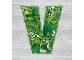 创意天然绿色大自然字母Y绿草花装饰大写字母元素