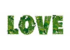 意天然绿色大自然字母绿草花装饰大写英文字母词组元素
