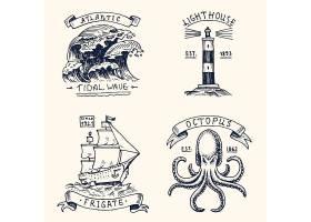 复古海洋帆船灯塔章鱼图标徽章设计