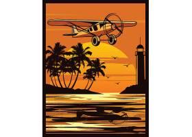 黄昏飞机与湖面灯塔插画主题矢量素材