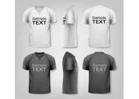 高清矢量图黑白和 男装T恤和工作服服装设计