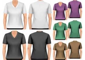 高清矢量图黑白和彩色男装T恤和工作服服装设计