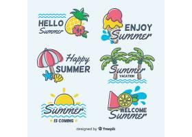 夏日主题海边沙滩度假手写英文主题标签设计