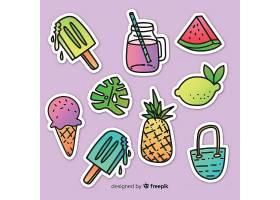 夏日冷饮甜品雪糕冰棒水果主题装饰插画