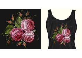 刺绣花朵T恤印花图案
