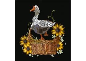 篮筐里的大鹅T恤印花图案