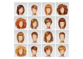商务男性和女性面部头像头像头发