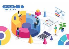 创意商务办公与数据主题人物矢量插画设计