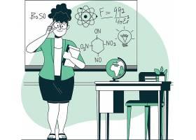 化学教学课程主题现代人物插画设计