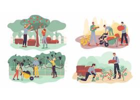 庄园与人物种植丰收主题人物现代生活插画设计