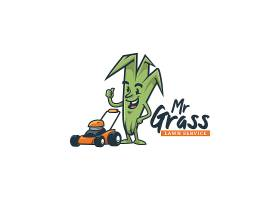 植物形象与除草机卡通图标LOGO标签招牌设计