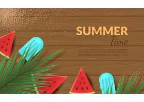 西瓜冰棒主题夏日矢量装饰插画设计