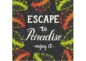 热带花卉棕榈叶热带树叶夏季海报背景设计