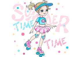 高清时尚潮流卡通漫画穿着时髦的衣服的女孩素材