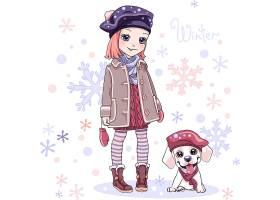 高清时尚潮流卡通漫画穿着时髦的衣服的女孩与狗素材