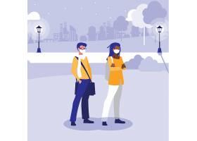 戴口罩的年轻男女主题现代人物插画设计